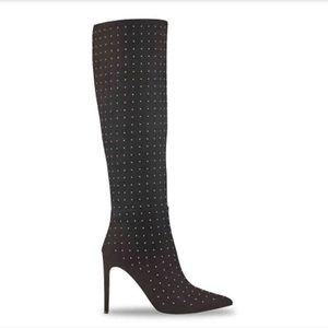 Guess Lilla Gold Studded Black Knee High Boots 8